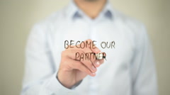 Become Our Partner, writing on transparent screen Stock Footage