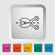 Scissors icon flat icon - stock illustration