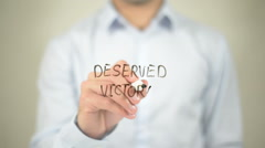 Deserved Victory   ,  man writing on transparent wall - stock footage
