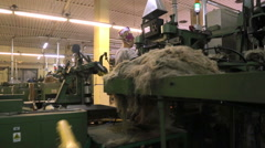 Inside of a textile factory Stock Footage