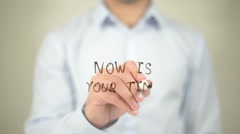Now Is Your Time   ,  man writing on transparent wall Stock Footage