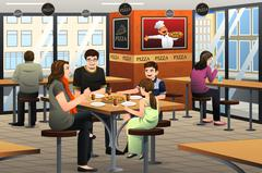 Family Eating Pizza Stock Illustration