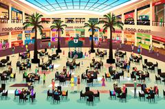 People Eating in a Food Court Piirros
