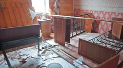 Interior of damaged abandoned house Stock Footage