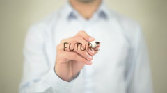 Future   ,  man writing on transparent wall Stock Footage