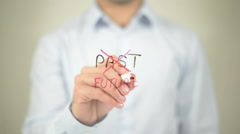 No to Past , Future   ,  man writing on transparent wall Stock Footage