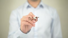 Past   ,  man writing on transparent wall Stock Footage