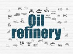 Industry concept: Oil Refinery on wall background Stock Illustration