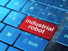 Manufacuring concept: Industrial Robot on computer keyboard background - stock illustration
