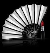 white fan and lipstick - stock illustration