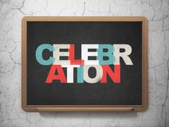 Holiday concept: Celebration on School board background - stock illustration