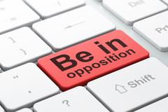 Political concept: Be in Opposition on computer keyboard background Stock Illustration