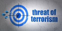 Politics concept: target and Threat Of Terrorism on wall background Stock Illustration