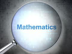 Education concept: Mathematics with optical glass Stock Illustration