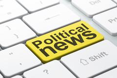 News concept: Political News on computer keyboard background - stock illustration
