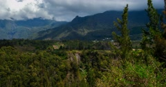 4K, Time Lapse, Epic Clouds At Mountain Range, Cilaos, Reunion Stock Footage