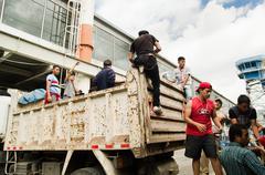 Quito, Ecuador - April,23, 2016: Unidentified citizens of Quito providing - stock photo