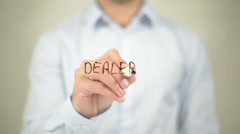 Dealer   ,  man writing on transparent wall - stock footage