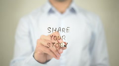 Share Your Story   ,  man writing on transparent wall Stock Footage