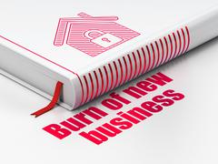 Finance concept: book Home, Burn Of new Business on white background - stock illustration