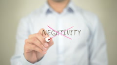 Say No To Negativity   ,  man writing on transparent wall Stock Footage