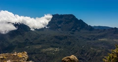 4K, Time Lapse, Epic Clouds At Le Grand Benare Mountain Range, Reunion - stock footage