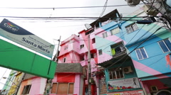 Colorful painted buildings of Favela in Rio de Janeiro Brazil Stock Footage
