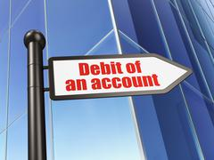 Banking concept: sign Debit of An account on Building background Stock Illustration