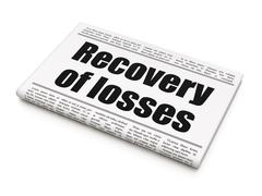 Banking concept: newspaper headline Recovery Of losses Stock Illustration