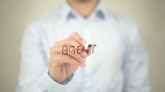 Agent   ,  man writing on transparent wall Stock Footage