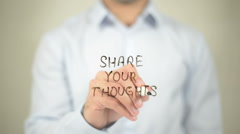 Share Your Thoughts   ,  man writing on transparent wall Stock Footage