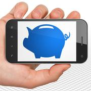 Currency concept: Hand Holding Smartphone with Money Box on display - stock illustration
