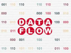 Information concept: Data Flow on wall background - stock illustration