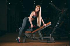 Brutal athletic woman pumping up muscles with dumbbells in gym Stock Photos