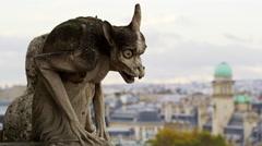 Notre Dame Church Gargoyles Downtown Paris France 5K HD Stock Video Footage Stock Footage