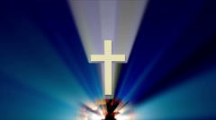 Christian Cross rising with light beams - stock footage