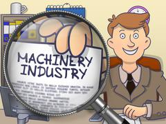 Machinery Industry through Lens. Doodle Style - stock illustration
