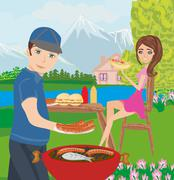 couple outdoor grilling meat - stock illustration