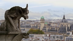 Notre Dame Church Gargoyles Downtown Paris France 5K HD Stock Video Footage Stock Footage
