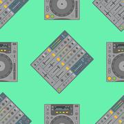 Vector musical equipment seamless pattern. Stock Illustration