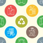 vector recycle waste seamless pattern. - stock illustration