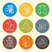 Vector recycle waste segregation icons. Stock Illustration
