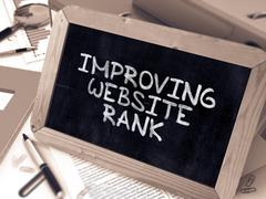 Improving Website Rank - Chalkboard with Hand Drawn Text - stock illustration