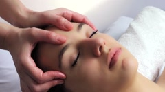 Relaxing facial massage Stock Footage