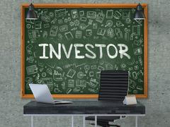 Investor Concept. Doodle Icons on Chalkboard - stock illustration