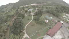 Drone view over garden compound - stock footage