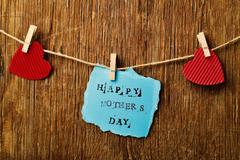 hearts and text happy mothers day - stock photo