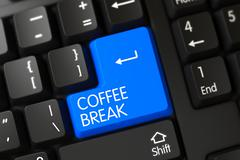 Blue Coffee Break Button on Keyboard - stock illustration