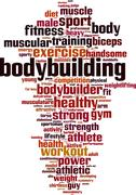Bodybuilding word cloud - stock illustration