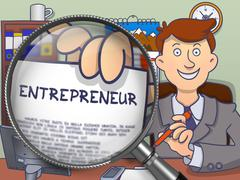 Entrepreneur through Lens. Doodle Design Stock Illustration
